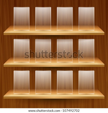 vector wooden shelves with empty glass boxes - stock vector