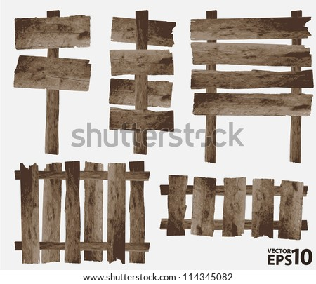 vector wooden sign and wooden fence - stock vector