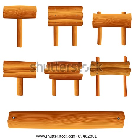 vector wooden sign set - stock vector
