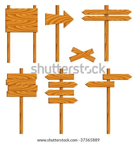 vector wooden signs - stock vector