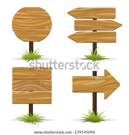 Vector wooden signs. Wooden plaques and pointers for information and advertising - stock vector