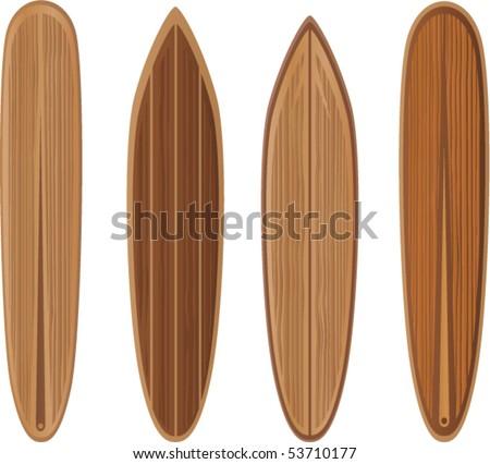 Vector-Wooden surfboards set - stock vector