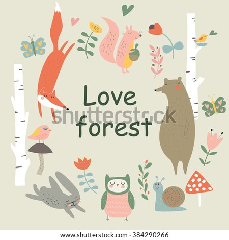 Vector woodland illustration with cute fox, squirrel, bear, snail, owl, birds, bunny, butterflies and flowers in cartoon style. 'Love forest' poster - stock vector