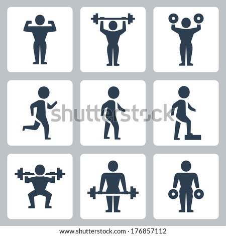 Vector workout, sport icons set - stock vector