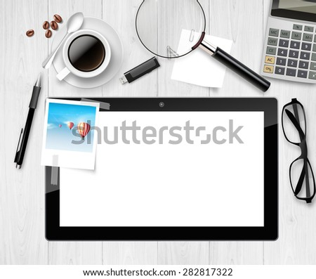 Vector Workplace with tablet pc blank screen, with office material on it. - stock vector