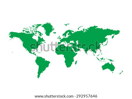 Vector world Colorful green detailed world map - stock vector