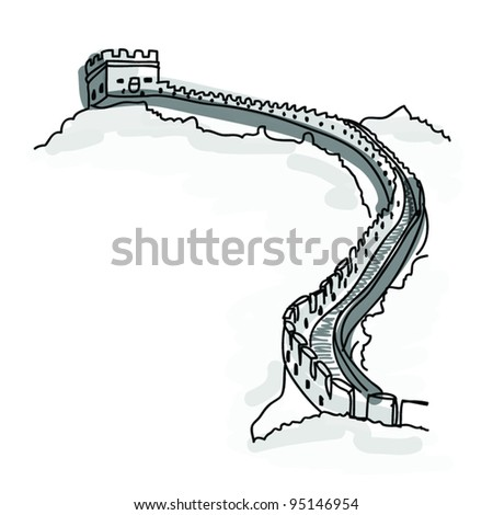 Vector World famous landmark collection : Wonder Great Chinese Wall , China