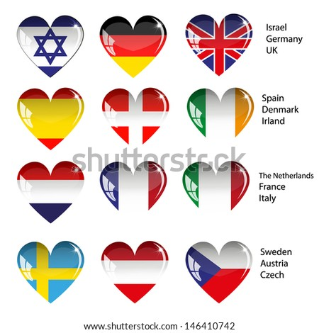 Vector - World Flags in Heart Shape, Set Glossy Button .good for: icon, button, design, decoration, symbol. - stock vector