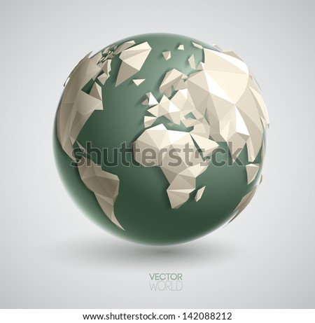 Vector world globe illustration, with 3d triangular map of the earth, and smooth shadows. The artwork is entirely vector based, and all elements are perfectly editable. - stock vector