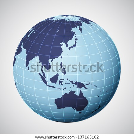 vector world globe in blue focused on asia illustration - stock vector