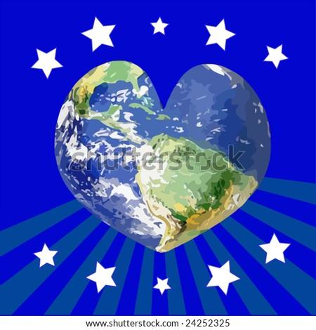 Vector World Heart - stock vector