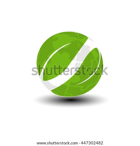 Vector world icon from puzzle. Green earth and leaf symbol. Go green. Nature symbol.  - stock vector
