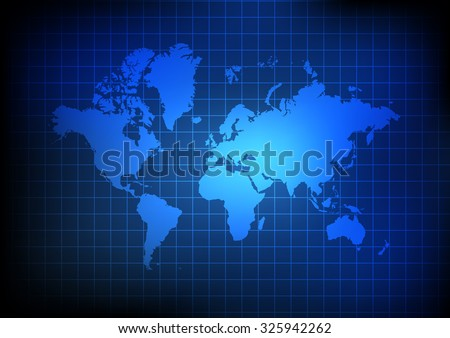 Vector : World map and grid on blue background - stock vector