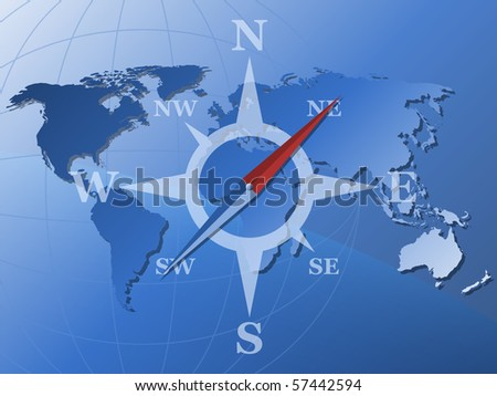Vector world map and stylized compass