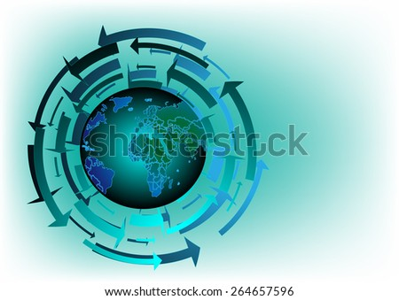 Vector world map background graphics and text - stock vector