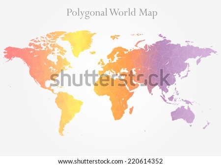 Vector World map background in polygonal style