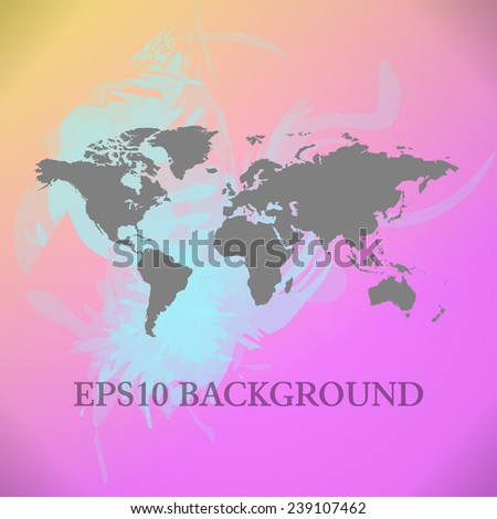 Vector World Map background with blue and pink paint splashes