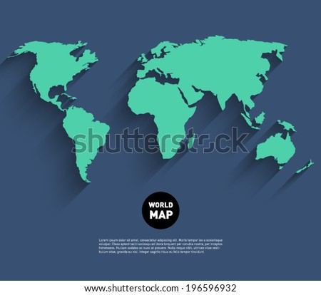 Vector world map background long shadow vector de stock196596932 vector world map background with long shadow and flat design style clean and modern gumiabroncs Images