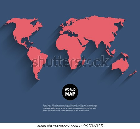 Vector world map background long shadow stock vector hd royalty vector world map background long shadow stock vector hd royalty free 196596935 shutterstock gumiabroncs Images
