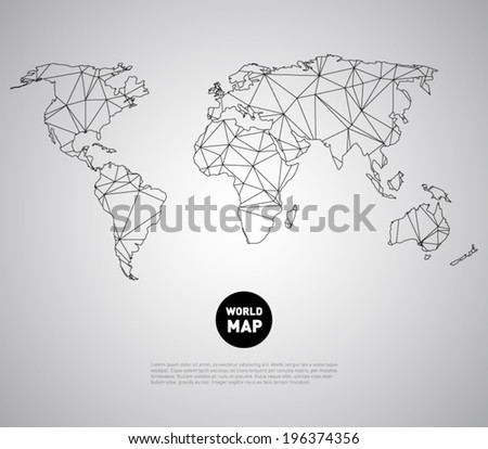 Vector world map background with polygonal, triangle style design. Clean and modern for infographics or business - stock vector