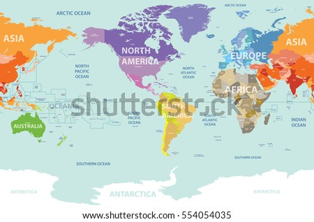 Vector world map colored by continents stock vector 554054035 vector world map colored by continents stock vector 554054035 shutterstock gumiabroncs Images