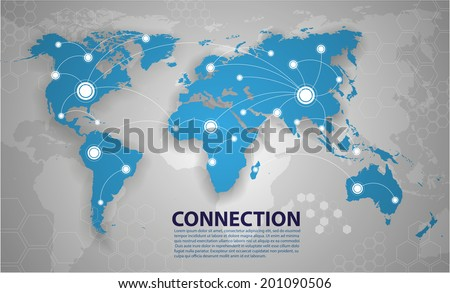 Vector world map connection - stock vector