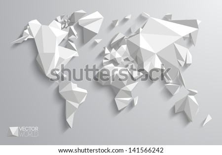 Vector world map design. Triangle pattern continents with vector shadows. - stock vector