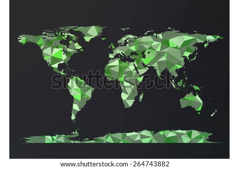 Vector World Map. Green polygon triangle pattern over dark background. High detail illustration. - stock vector