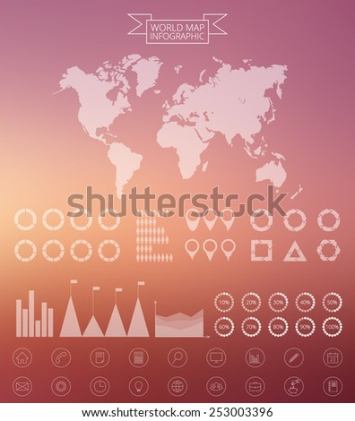 Vector world map illustration and infographics design template. Template for presentation. Linear graphic. Blur vector background