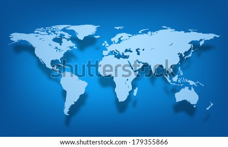 Vector world map illustration on colorful background. - stock vector