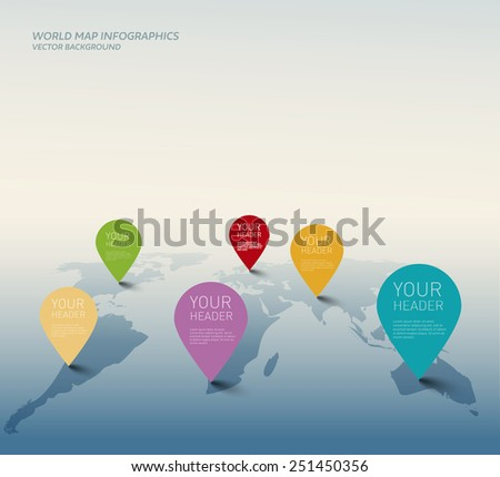Vector world map illustration with color pointers. - stock vector