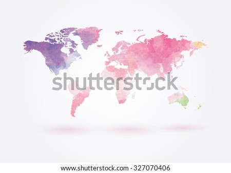 Vector world map in watercolor style - stock vector