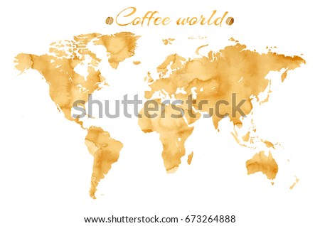Vector world map watercolor style coffee stock vector hd royalty vector world map watercolor style coffee stock vector hd royalty free 673264888 shutterstock gumiabroncs Image collections