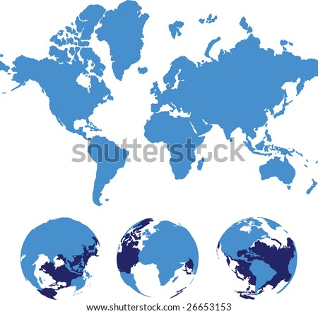 Vector world map isolated over a white - stock vector