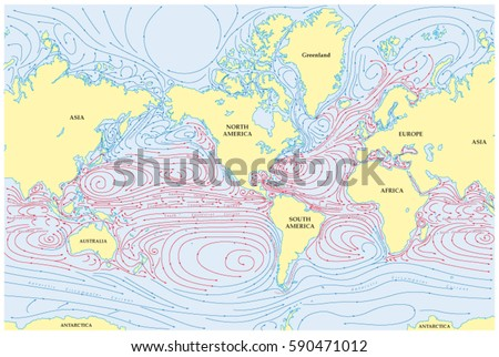 Vector world map all sea currents vectores en stock 590471012 vector world map of all sea currents gumiabroncs Choice Image