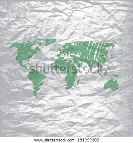 Vector world map on a wrinkled paper.