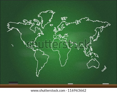 Vector World Map on Chalkboard, Editable EPS10, add your own text - stock vector