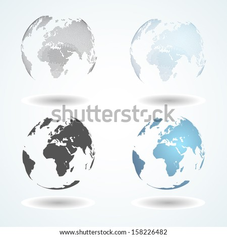 Vector world map on sphere. Dotted and gradient - stock vector