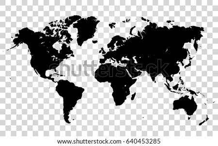 vector world map on the transparent background