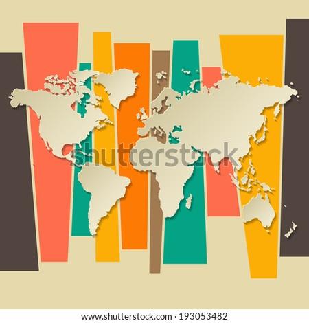 Vector World map paper 3D retro background - stock vector