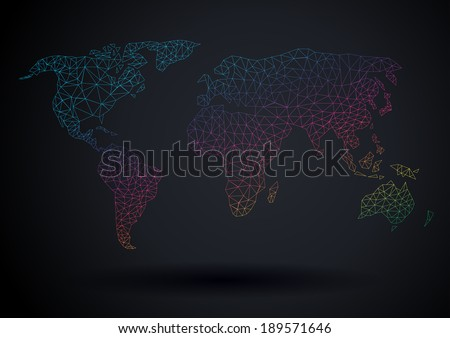 Vector world map polygonal light spectrum modern template design  - stock vector