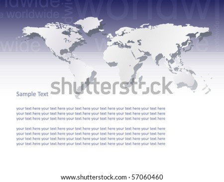 Vector world map (text â??worldwideâ? in blue background part) - stock vector