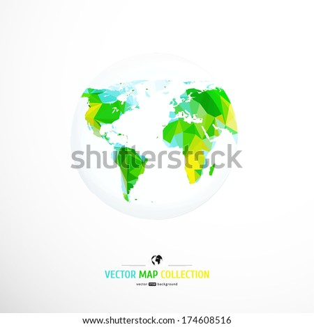 Vector World map. Triangle set. - stock vector