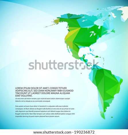 Vector World map. Triangle set. Part of map for your traveling bochure - stock vector