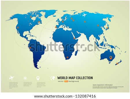 Vector World map with airways and information graphics - stock vector
