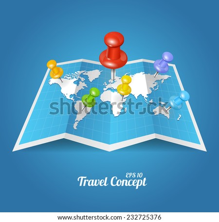 Vector World Map with color geo-location pin pointers - stock vector