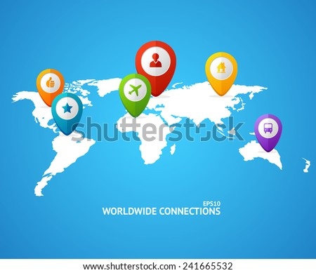 Vector World Map with color geo location pin pointers - stock vector
