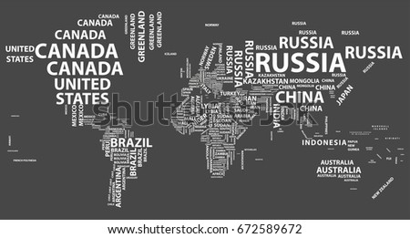 Vector World Map Country Names Typography Stock Vector 672589672