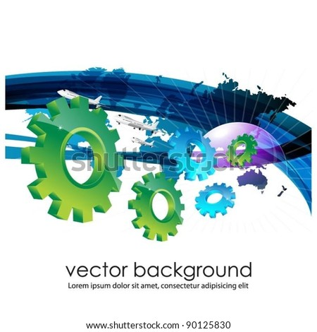 vector world map with 3d gears - stock vector