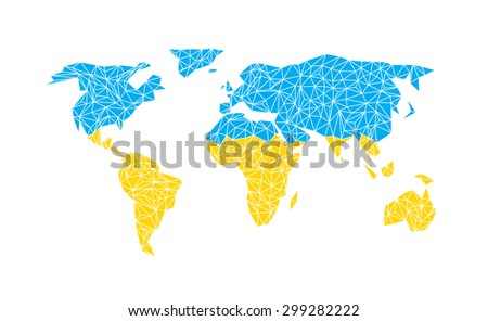 Vector world map with flag of Ukraine. - stock vector